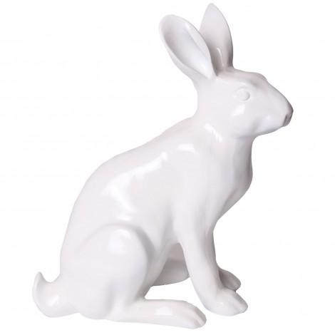 Statue en résine lapin lièvre blanc assis Bertrand - 37 cm