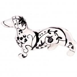 Statue teckel tirelire noir et blanc en céramique modèle fleurs et feuilles - 27 cm