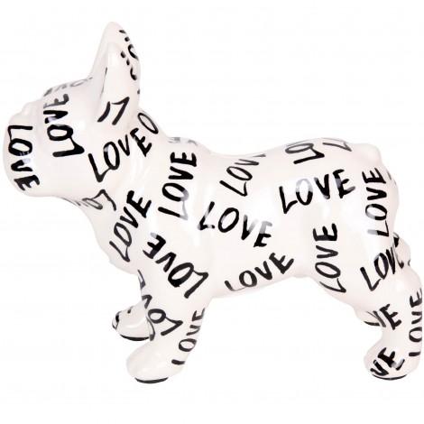 Tirelire en céramique bouledogue Français décor LOVE - 23 cm