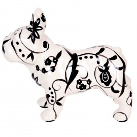 Tirelire en céramique bouledogue Français décor fleurs et feuilles - 23 cm