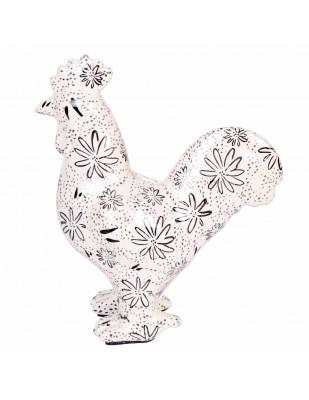 Tirelire en céramique statue coq décor floral - 24 cm