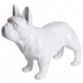 Statue chien bouledogue Français blanc en résine - Carlos - 34 cm