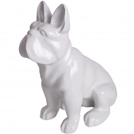 Statue en résine bouledogue Français assis blanc - Rami - 39 cm