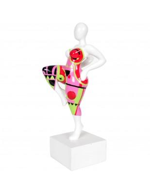 Statue design en résine femme jambe levée multicolore Rose - 37 cm