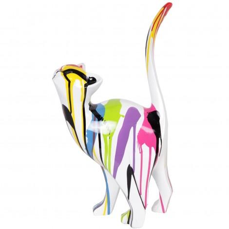 Statue en résine CHAT origami multicolore fond blanc - 46 cm