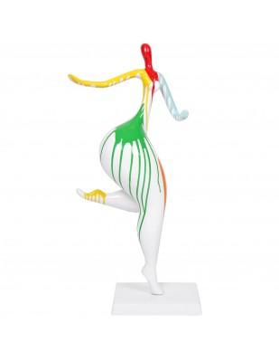 Statue femme design moderne en résine multicolore fond blanc Annabelle - 78 cm