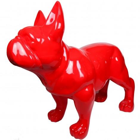 Statue chien bouledogue Français rouge XXL finition laquée en résine - 200 cm
