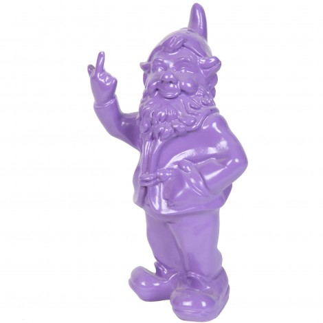 Statue en résine NAIN de jardin doigt d'honneur violet - 33 cm