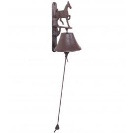 CLOCHE de porte en fonte statue cheval qui marche - 22 cm