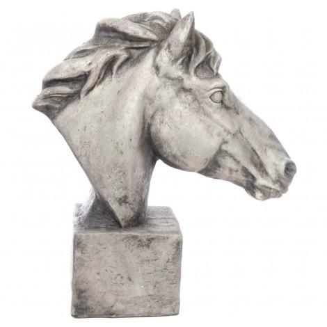 Statue tête de cheval patine pierre en résine - 63 cm