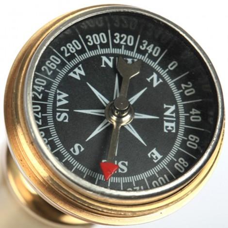 CANNE de marche a système boussole lisse dorée - 89 cm