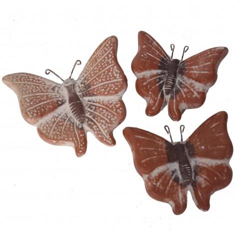 Set de trois papillons mural en terre cuite patine rouille -18 cm