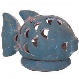 Photophore bougeoir statue poisson bleu en terre cuite -17 cm