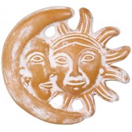 Statue murale soleil et lune patine ocre jaune en terre cuite - 28 cm