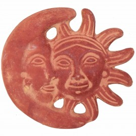 Statue murale soleil et lune patine ocre brun en terre cuite - 28 cm