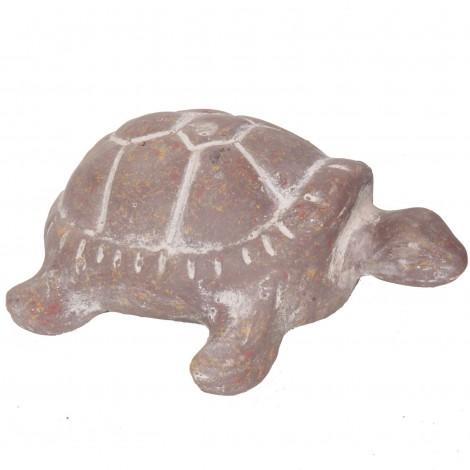 Statue tortue marron en terre cuite - 35 cm