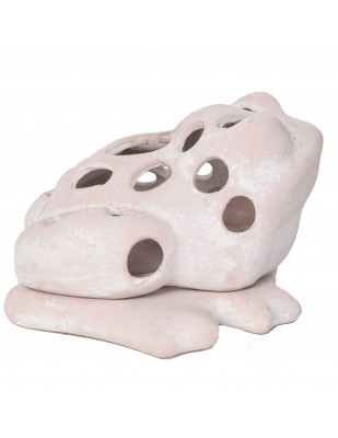 Photophore bougeoir statue grenouille blanche en terre cuite -18 cm