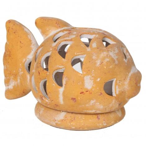 Photophore bougeoir statue poisson ocre jaune en terre cuite -17 cm