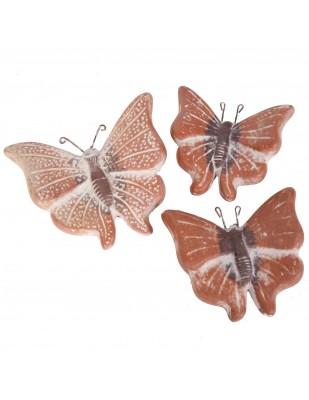 Set de trois papillons mural en terre cuite patine marron clair -18 cm