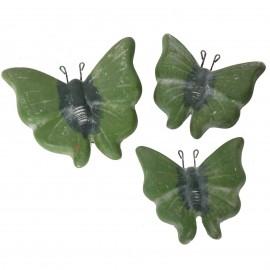 Set de trois papillons mural en terre cuite patine verte -18 cm