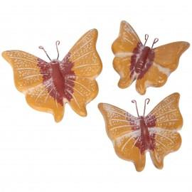 Set de trois papillons mural en terre cuite ocre jaune et marron -18 cm