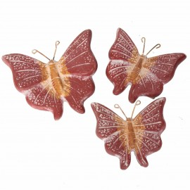 Set de trois papillons mural en terre cuite patine rouille et ocre -18 cm