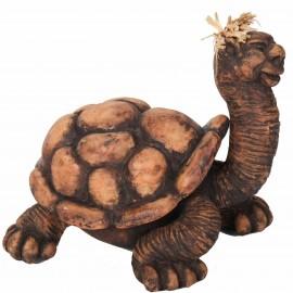 Statue tortue marron et beige en terre cuite - 15 cm