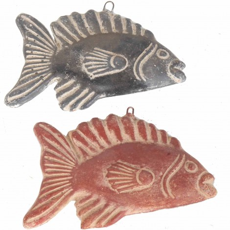 Set de deux poissons mural en terre cuite patine rouille et grise -23 cm