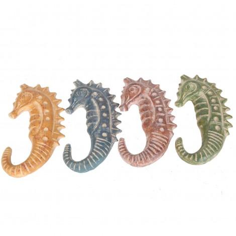 Set de quatre hippocampes mural en terre cuite -26 cm