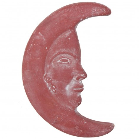 Lune murale en terre cuite patine rouille -32 cm