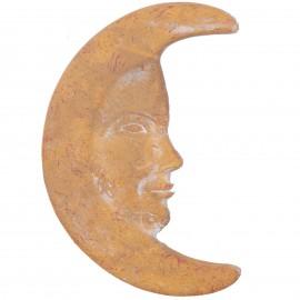 Lune murale en terre cuite patine ocre jaune -32 cm