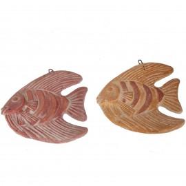 Set de deux poissons mural en terre cuite patine rouille et orange -21 cm