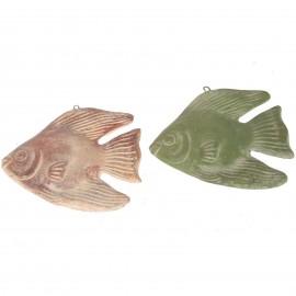 Set de deux poissons mural en terre cuite patine rouille et verte -25 cm