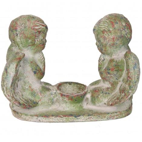 Photophore bougeoir en terre cuite deux anges patine verte - 24 cm