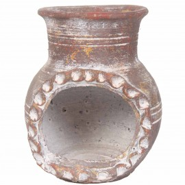 Photophore bougeoir en terre cuite style brasero patine marron - 17 cm