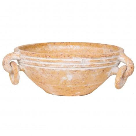 Plat en terre cuite patine ocre jaune - 26 cm