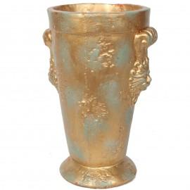 Petit vase en terre cuite patine bronze tête de lion - 26 cm