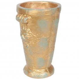 Grand vase en terre cuite patine bronze tête de lion - 38 cm
