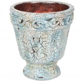 Grand vase en terre cuite et faïence craquelée - 30 cm