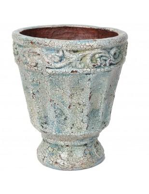 Petit vase en terre cuite et faïence craquelée - 22 cm