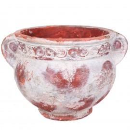 Petit vase en terre cuite rouille et blanc avec anse - 17 cm