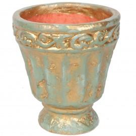 Grand vase en terre cuite vert et bronze avec feuilles - 30 cm