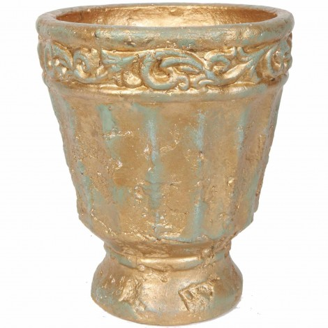 Petit vase en terre cuite vert et bronze avec feuilles - 22 cm