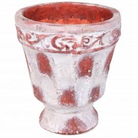 Petit vase en terre cuite rouille et blanc avec feuilles - 22 cm
