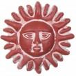 Soleil mural en terre cuite marron clair - 30 cm