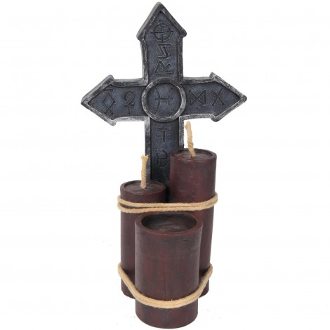 Croix gothique en résine - 24 cm