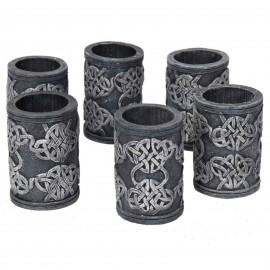 Set de six verres motifs gothique en résine - 6 cm