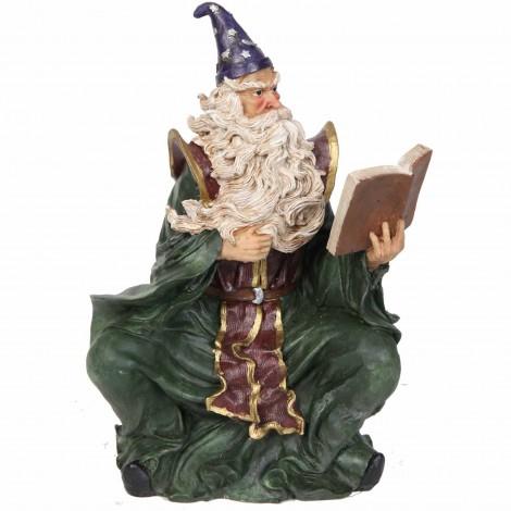 Statue de Merlin en robe verte et le grand livre - 28 cm