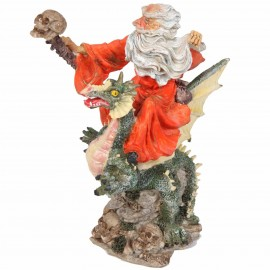Statue de Merlin chevauchant le dragon vert - 22 cm