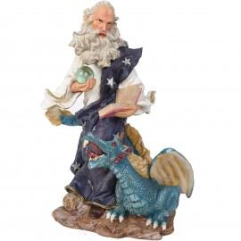 Statue de Merlin et le dragon bleu - 30 cm